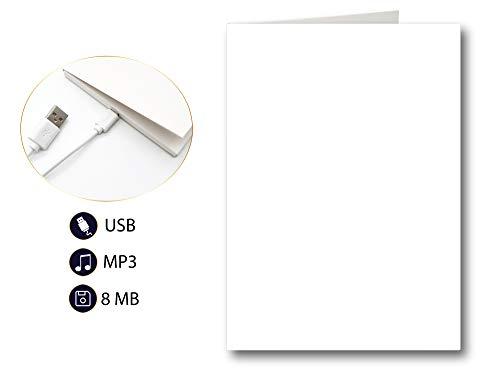 PlayMegram blanko Audio-Grußkarte mit USB und 8 MB Speicher, Für Sprachnachrichten und Musik, Audiogrußkarte, Musik-Grußkarte, Geburtstagskarte, Kreative Geschenkidee