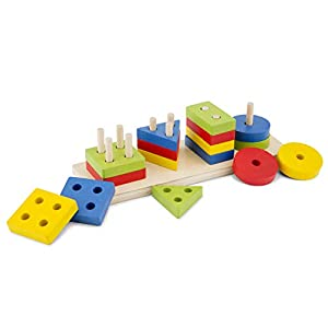 New Classic Toys Geometric Stacking Puzzle, Multicolore Color (10500)
