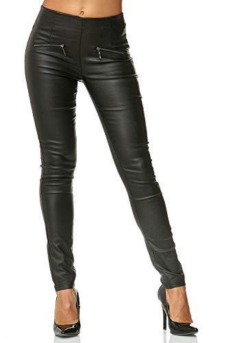 ArizonaShopping - Hosen Damen Treggings Hose Leder Optik Kunstleder Stretch Skinny D2472,Schwarz,48