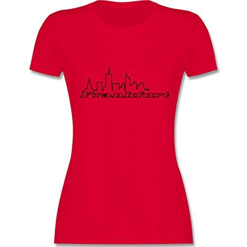 Skyline - Frankfurt Skyline - tailliertes Premium T-Shirt mit Rundhalsausschnitt für Damen Rot
