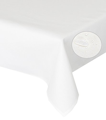 Tischdecke creme 135cm Rund Lotuseffekt, abwaschbar, Schmutz- und Wasserabweisend, eckig - Größe, Farbe & Form wählbar (Rund Eckig Oval) (Spitzen Tischdecke Rund Creme)