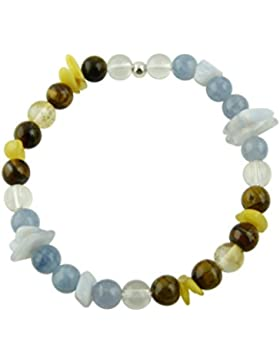 Sunsara Traumsteinshop Edelstein Sternzeichen Armband - Zwillinge - mit 925er Silber Perle, Heilsteinarmband,...