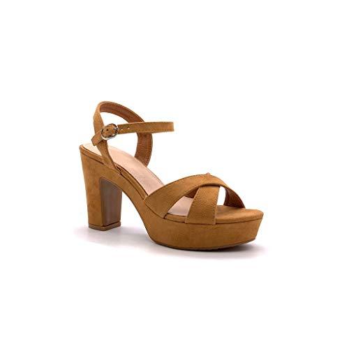 Camel High Heels (Angkorly - Damen Schuhe Sandalen Espadrilles - knöchelriemen - Bequeme - Ehe Zeremonie - gekreuzte Riemen - Basic - Basic Blockabsatz high Heel 10 cm - Camel 2 88-290 T 40)