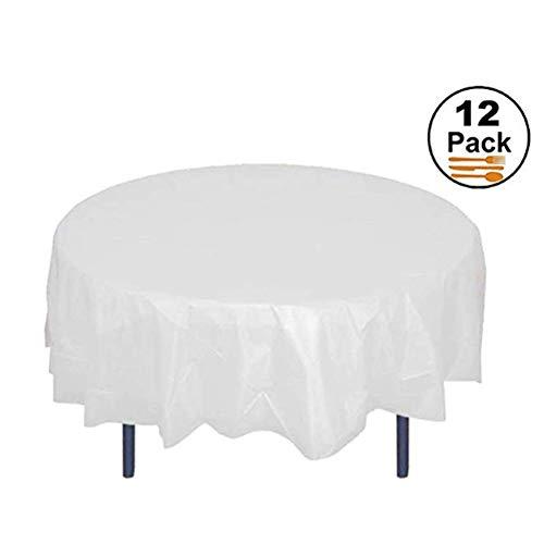 Aifusi 12er Pack Kunststoff Tischdecken für Party 84 Zoll Premium Round Table Cover Tischdecke Einweg Tisch Protector Cover für Party Hochzeit und Bankett [Weiße Farbe]