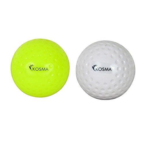Kosma hoyuelo Set de 2 bolas de Hockey | Deportes PVC Bolas - Formación Práctica (blanco, amarillo)