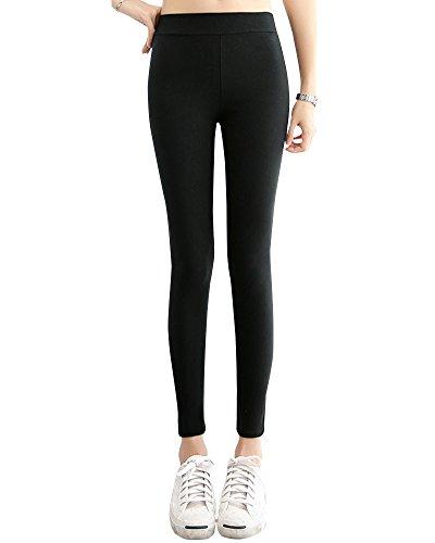 Stile Classico Donna Stretto Inverno Caldo Leggings Pantacollant Pantaloni da Allenamento Leggins Sportivi Yoga Nero M
