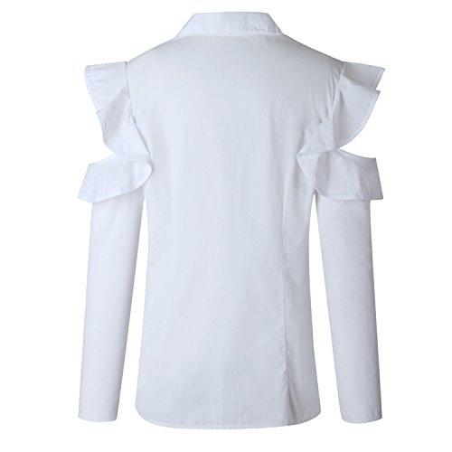 Moda a Maniche Lunghe Cold Shoulder Spalle Scoperte Fondo a Volant Bottoni Abbottonatura Davanti in Cotone Blouse Blusa Camicetta Shirt Camicia Top bianca