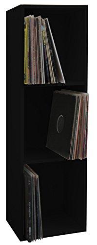 VCM Regal Schallplatten Standregal Bücherregal Universal Archiv LP Möbel Archivierung Holz Schwarz 115x34x29cm Platto