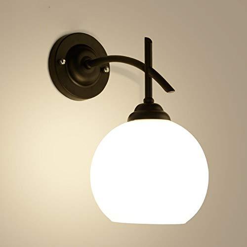 DLGGO Moderne minimalistische Aluminium Indoor LED Wandleuchte Schlafzimmer Nachttischdekoration Wohnzimmer Wandleuchte Milchglas Kugel schwarz lackiert Wandleuchte Korridor Treppe E26 / E27 Oberfläch -