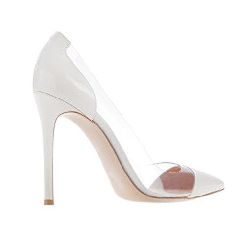Damen Spitze Zehen Pumps Durchsichtig Sandalen High-Heels Stiletto Rutsch Weiß