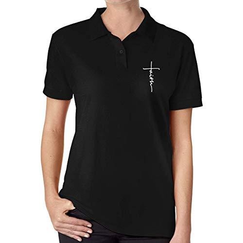 Frauen Classic Faith Print Polo T-Shirt für Frauen Mädchen Shirts Sommer Casual Kurzarm T-Shirt Rundhals T-Shirt Schwarz S -
