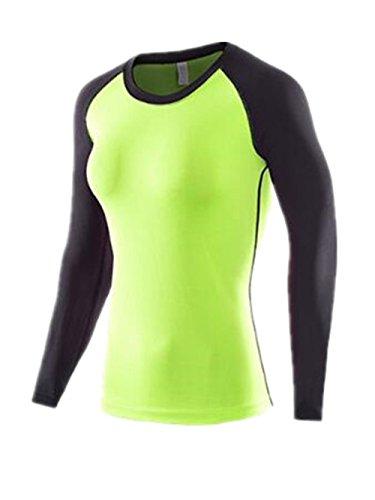 AILIENT Femme T-Shirt de Sport Slim Col Rond Space-Dry Top Blouse Basique Casual Respirant T-Shirt Manche Longue Patchwork Pour Yoga Fitness Joggings green