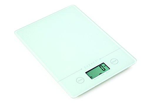 EXZACT Bilancia Elettronica da Cucina/Super Sottile (1,4 cm)/ Bilancia Digitale - Piattaforma in Vetro Temperato - Batteria Inclusa - 5kg / 11lb (Bianco)