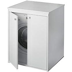 Meuble pour machine à laver, sèche-linge, ouverture à 2 portes, 70 x 60 x 94 cm, portes renforcées