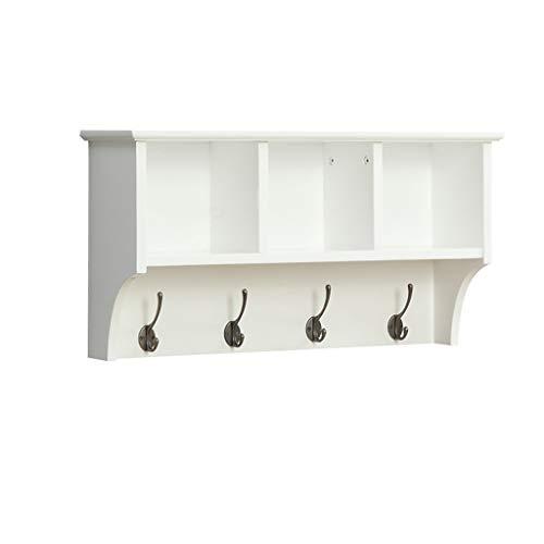 ZZBBZZ-YJ Dika UK Wandhaken Hängende Entryway Regal an der Wand befestigte Kleiderständer-Speicher-Kabinette mit Haken Holz Modern Display Home Decor Möbel gibt es 65cm, 85cm zur Auswahl (weiß) - Holz-speicher-kabinette