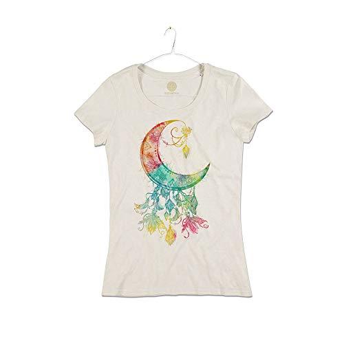 Camiseta Mujer Luna con Plumas atrapasueños algodón orgánico Dreamcatcher Moon and Plumes T-Shirt Girl Natural White S