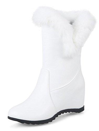 SHOWHOW Damen Flauschig Erhört Schneestiefel Stiefelette Weiß 42 - Flauschige Stiefel Weiß