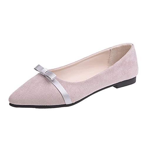 iLPM5 Damen Sommer Vintage Elegant Einfarbig Bogen Spitz Flacher Mund Schuhe Flache Einzelne Schuhe Erbsen Schuhe(Lila,40) (Leopard Wedge Print Booties)