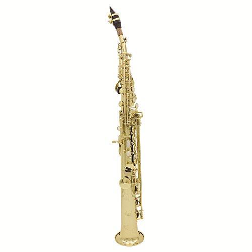 Preisvergleich Produktbild Andoer LADE Sopran Saxophon SAX Bb Messing lackiert Gold und Tasten mit Schmierfett Cork