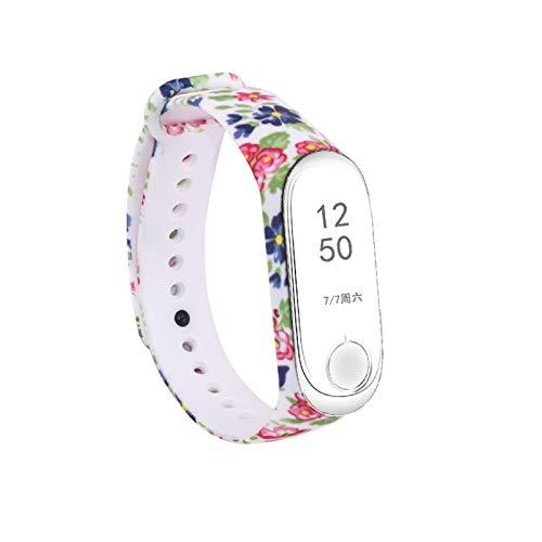 ALLSHOPSTOCK (#15 Holz-Blumen-Muster Silikon Malerei Armband Uhrenarmband für Xiaomi Mi Band 3 (Band Für Malerei)