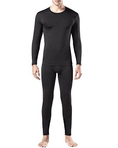 Lapasa Herren Thermounterwäsche Set (Hemd+ Hose), Warm, Weich, Dehnbar, und Luftig, Perfekte Funktionsunterwäsche Herren für Winter (L, Schwarz)