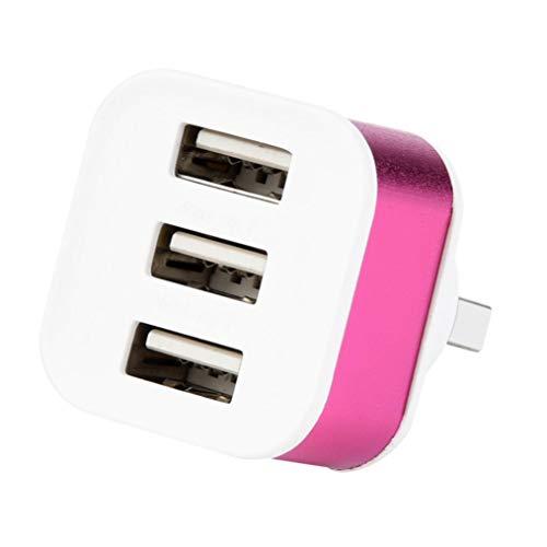 MuSheng For Micro USB Adapter,Neue 3.1A 5 V 3 Port USB 2.0 Drehen HUB Schnelle Hohe Effizienz Splitter Adapter Für PC Desktop Notebook Expansion (Hot Pink) -