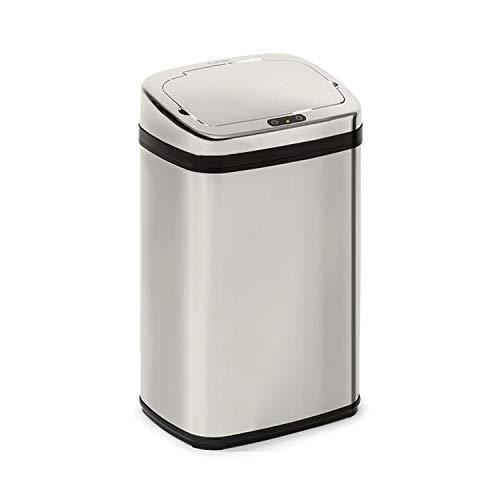 Klarstein Cleansmann 30 - Poubelles, capacité 30 litres, sans contact : ouverture et fermeture automatique, porte-sac poubelle, matériaux : couvercle en plastique ABS, chromé