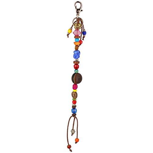 �r Schlüssel ethnischen brasilianisches lang Samen Perlen mehrfarbigen Kugeln Holz Glas Glöckchen gold silber (Hippie-perlen-tür)