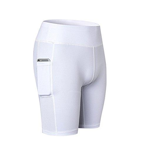 en Shorts Sport Kurze Leggings Fitness Tights Yoga Shorts Kurze Hosen Mesh Radlerhose Hot Pants Hipster Workout mit Taschen Weiss L ()