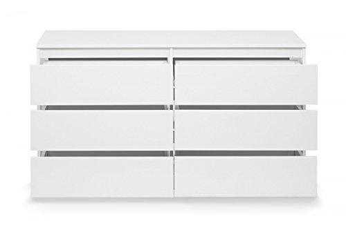 Kommode mit 6 Schubladen Sideboard Mehrzweckschrank Anrichte Diele Flur Esszimmer Wohnzimmer Weiß - 3