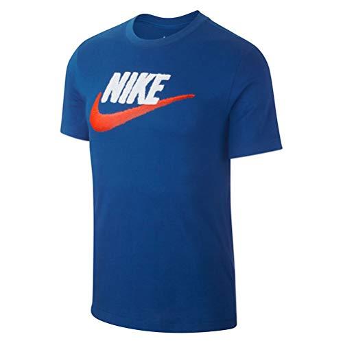Nike m nsw tee brand mark, maglietta uomo, indaco/bianco/arancione (indigo force/team orange), l