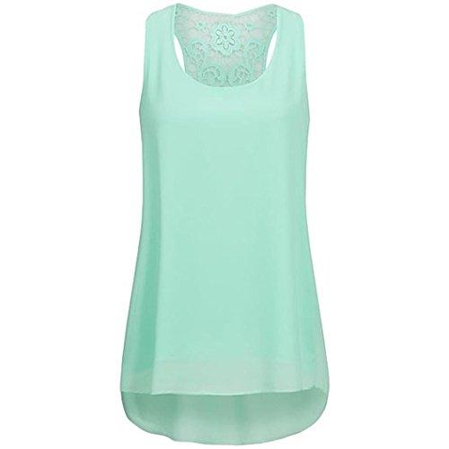 MOIKA Damen Tank Top, New Frauen Mode Top Sommer ärmellosen Chiffon Tuniken Bluse Hem Scoop T Shirts Top(L,Mintgrün)