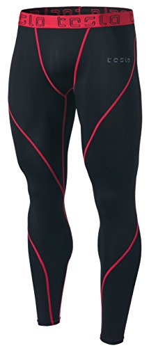 TSLA TM-MUP19-KKR_Small Men's Compression Pants Running Baselayer Cool Dry Sports Tights Leggings MUP19 - Tight-fit Compression Shirt