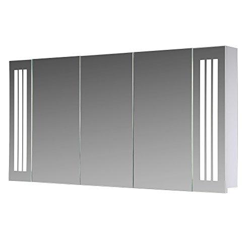 #Eurosan Sydney, S120, 3-türiger Spiegelschrank, Superflach, Integrierte LED-Frontbeleuchtung, Breite 120 cm, Weiß#