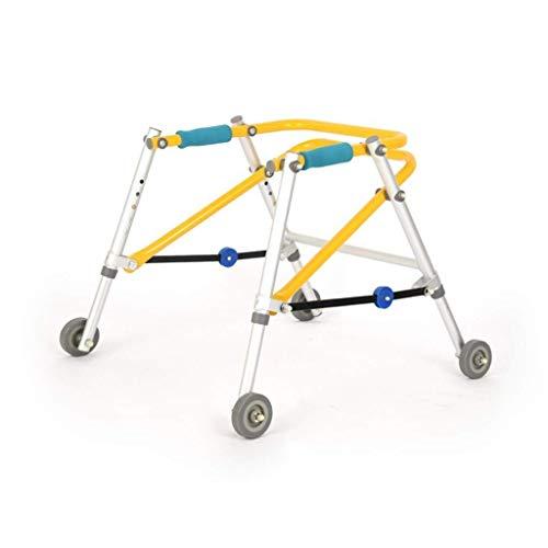 Fhxr Rollatoren Test Gehhilfe höhenverstellbar zusammenklappbar kinderspezifisch Reha-Gehhilfe Ausbildung Allrad-Gehhilfe (Color : Yellow, Size : M)