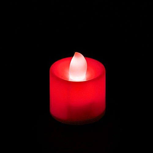 Kofun-LED Kerzen Teelichter Flackernde Flamme inklusive Batterien Ideal Weihnachten Party Dekorationen, rot, 12 Packungen
