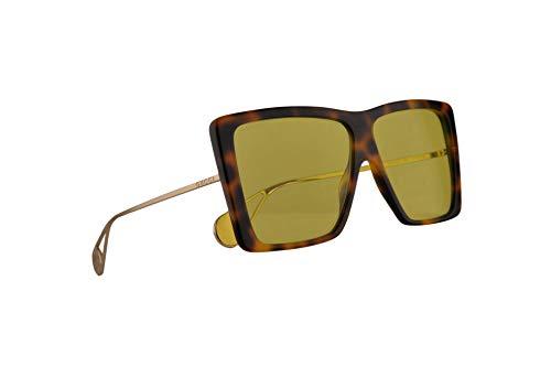 Gucci GG0434S Sonnenbrille Havana Gold Mit Gelben Gläsern 61mm 002 GG0434/S 0434/S GG 0434S