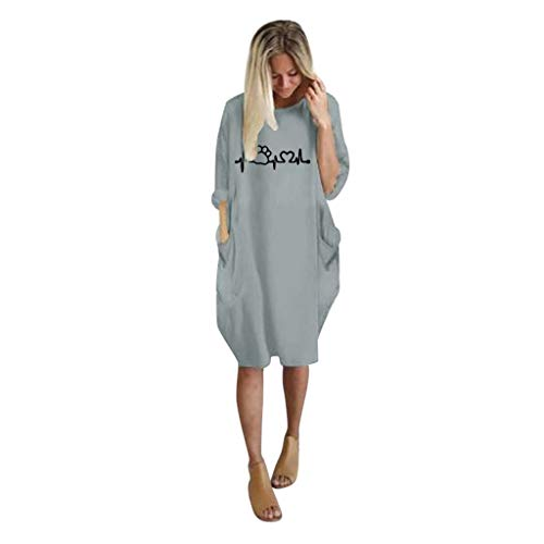 Damen Freizeit kleider,Loses langärmliges Taschenpullover Minikleid Langarm Loose Kleid blusenkleid Damen übergroße Baggy Long Sleeve Pocket Pullover Minikleid S-5XL -