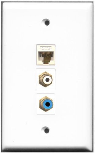 RiteAV-1Port RCA und 1Port Cinch blau in Weiss und 1Port Cat6Ethernet weiß Wall Plate Rca Modular Wall Outlet