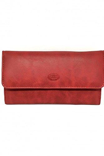 Portefeuille Tout en un Compagnon Femme Cuir Véritable Souple Grainé - Porte carte / porte monnaie (Rouge)