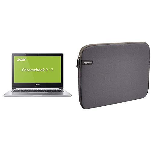 Acer Chromebook R 13  Silber & AmazonBasics Laptop-Schutzhülle,13,3 Zoll, Grau