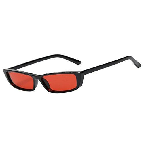 MagiDeal Mode Retro Vintage dreieck Gläser UV400 Schutz Sonnenbrillen Dekobrille für Frauen Damen - Schwarz + Rot