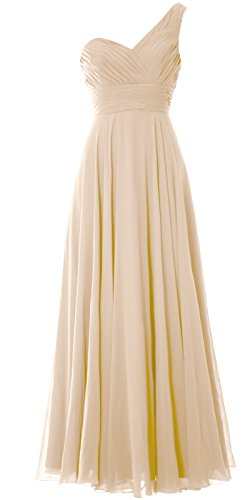 MACloth Women One Shoulder Long Bridesmaid Dress Wedding Party Evening Gown Champagne