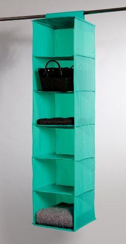 Compactor RAN5332 Hängeregal für den Kleiderschrank mit 6 Fächern, 30 x 30 x 128 cm, grün
