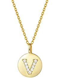 9c58161c4d00 AGVANA Collar de Oro con Las señoras de la Letra 925 Cadenas Iniciales de  Plata Nombre
