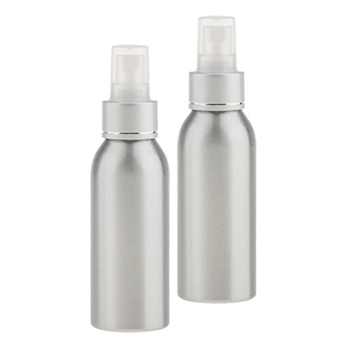 MagiDeal 2 Stücke Sprühflasche Aluminium Make-up Parfüm Friseur Sprayer Wasser Zerstäuber Pumpflasche nachfüllbar - Silber 100ml