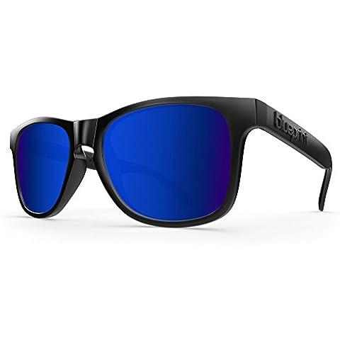 Blue print Noosa // Black Midnight, Nero Opaco con occhiali da sole polarizzata blu specchio in vetro