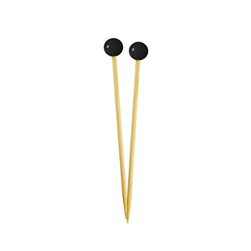 Einfach gebackener Kleiner Appetizer & Cocktail Pick, Metallic Silber Ball auf natürliche Holz Plektrum, Einweg und stabil, 400Stück, 8,9cm lang schwarzer Ball (Black Ball) 3.5