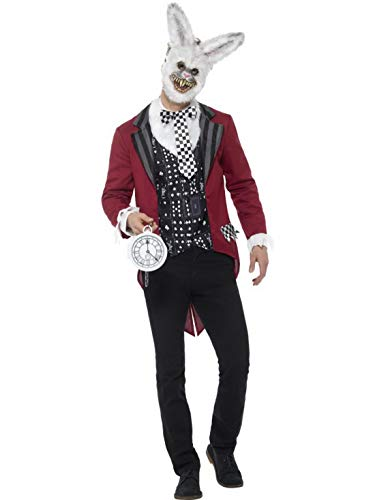 Halloweenia - Herren Männer Kostüm Deluxe Horror Zombie Hase mit Jacke Shirt Maske und Uhr, Evil Bunny Rabbit Jacket Waistcoat Mask and Watch , perfekt für Halloween Karneval und Fasching, L, Rot