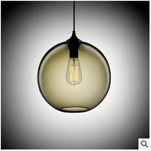 XXTT-Lámpara Industrial, retro, salón, dormitorio, redonda, cristal, sola cabeza, colgante , smoke gray Sala de estar Iluminación